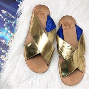 Jeffrey Campbell gold slide Greek sandals